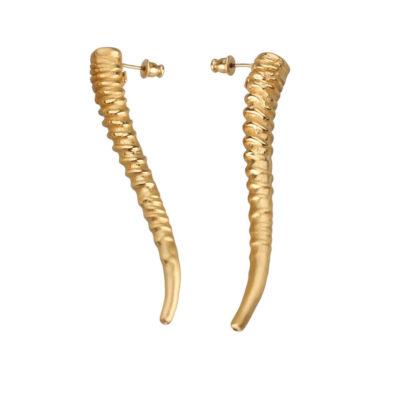 TWISTED HORN MEDIUM GOLD 175,00€ Pendientes de cuernos de impala bañados en oro.