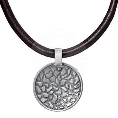 Collar cuero y plata Styliano