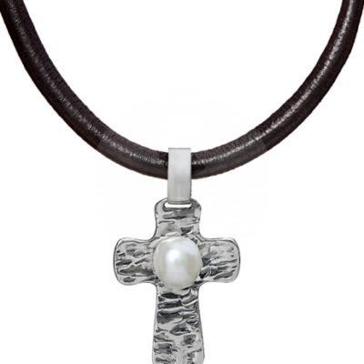 Colgante Styliano, cruz de plata y perla