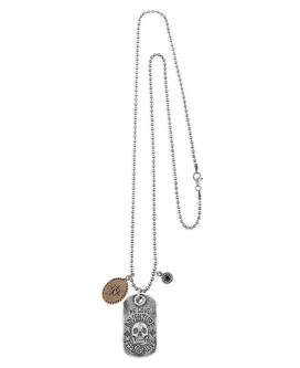 COLLAR WE LOVE ADVENTURE DE PLATA CON MOTIVO BRONCE Y CIRCONITA