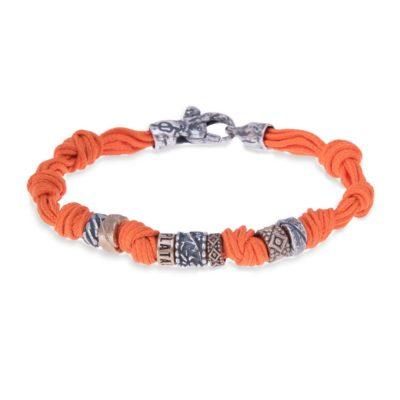 Pulsera cuerda naranja y plata