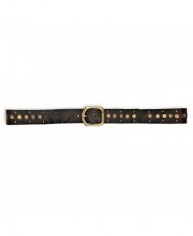Cinturon de cinturon de piel bovina y metal