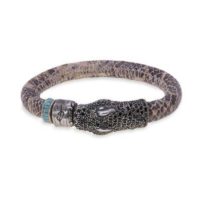 Pulsera serpiente en plata y circonias