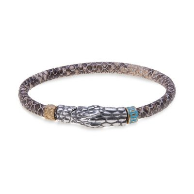 Pulsera serpiente cuero y plata