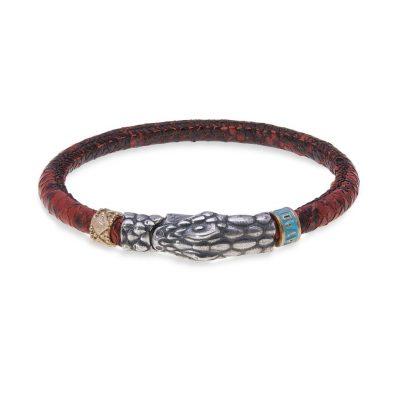Pulsera cuero roja con serpiente en plata