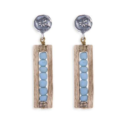 Pendiente azul, plata y bronce