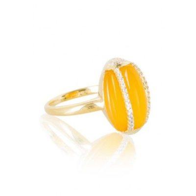 DUBLIN Anillo de plata de Ley 925 Acabado: oro amarillo Piedras: color citrino y circonitas blancas calidad AA