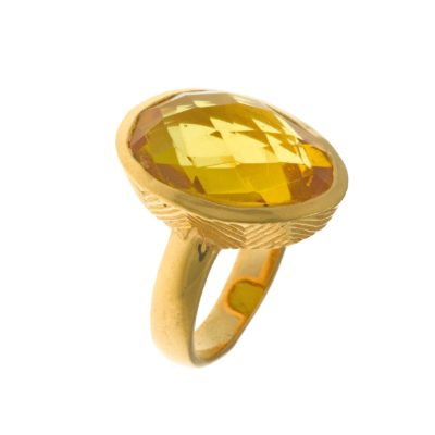 Cuarzo amarillo, plata y baño de oro