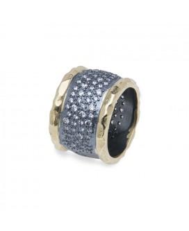 anillo plata y circonias