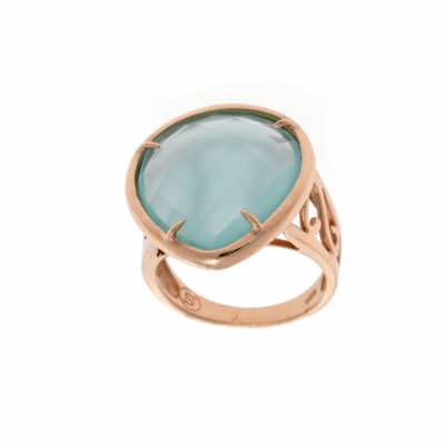 anillo-oro rosa-cuarzo verde