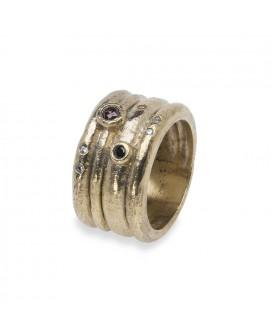 anillo plata y baño de oro