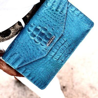 Bolso Piel Cocodrilo color Azul