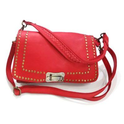 Bolso rojo mediano con tachuelas