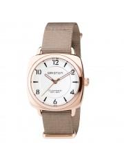 Clubmaster Chic Acero - HMS Gold esfera en blanco DESCRIPCIÓN Briston propone el reloj perfecto y elegante con una caja de acero oro rosa en 36 mm: el Clubmaster Chic.
