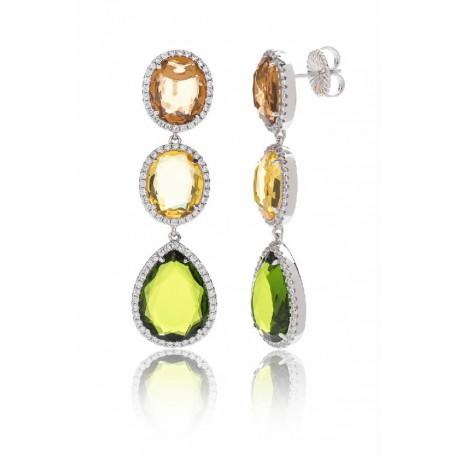 Pendiente plata circonita teñida color verde y ambar diseñado. Camaleoni