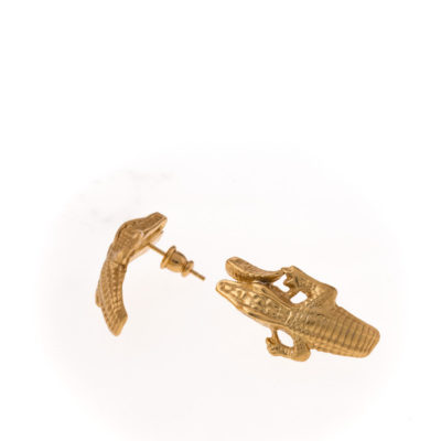 Cocodrilo pendientes oro
