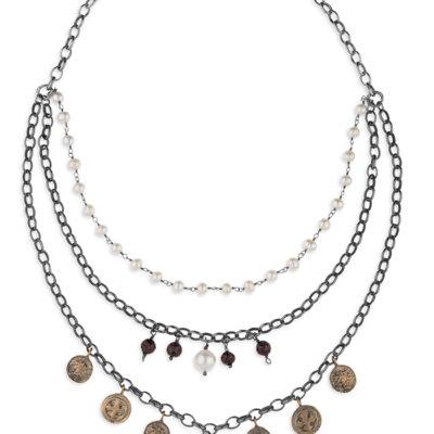 collar boho, plata y perlas