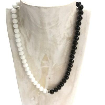 Collar Ágata blanca y onix