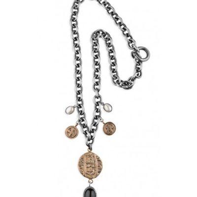 collar cadena plata y piedra con perlas y motivos bronce