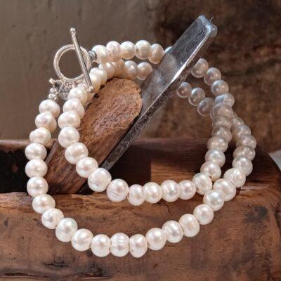 Collar perla barroca y plata