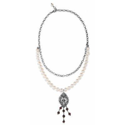 Colgante plata y perlas