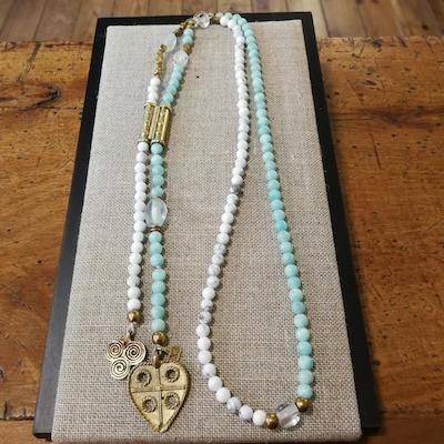 Collar piedras semipreciosas y bronce