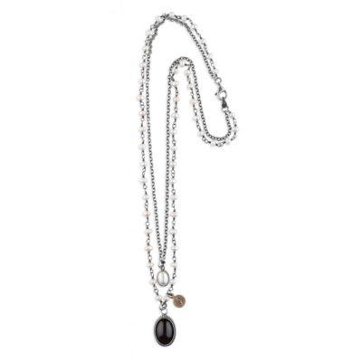 collar cadena plata y perlas