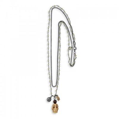 collar plata-colgante calavera-collar plata de palo