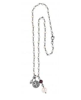 Colgante WOMAN plata bronce y perlas