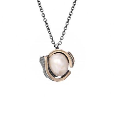 Colgante Styliano oro, plata y perla