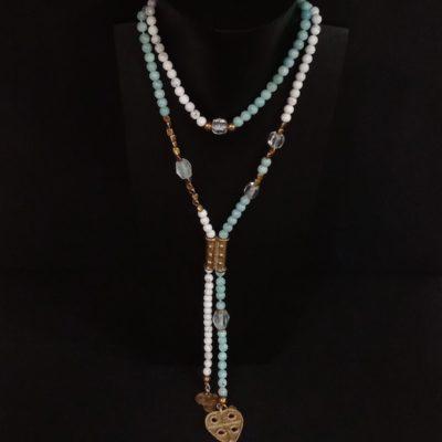 Collar bronce y piedras semipreciosas