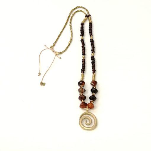 collar piedra semipreciosa y bronce