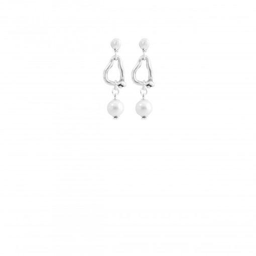 pendientes, perla uno de 50, plata