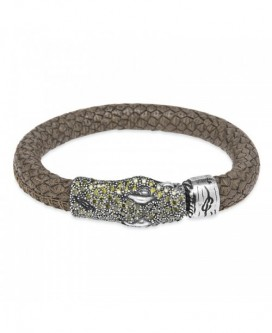 Pulsera serpiente Plata de Palo, cuero verde