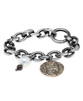Pulsera cadena de plata y medallón bronce