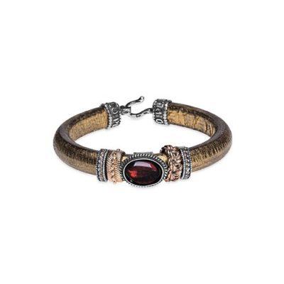 pulsera cuero bronce y piedra semipreciosa