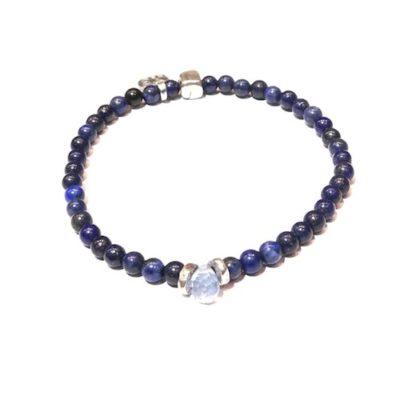 Pulsera Lapislázuli y cristal azul