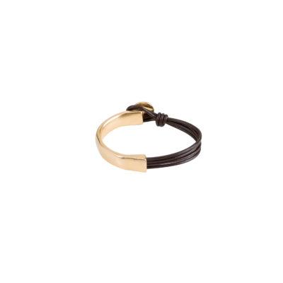 pulsera oro uno de 50- cuero y oro
