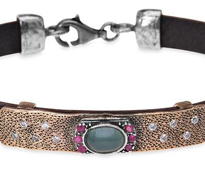 pulsera cuero- bronce- circonitas-pulsera mujer-pulsera para hombre