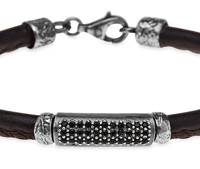 pulsera-plata de palo-mujer-cuero y circonitas