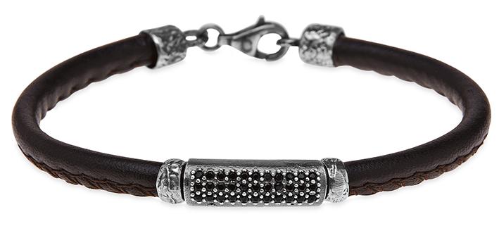 6b60527e892f pulsera-plata de palo-mujer-cuero y circonitas