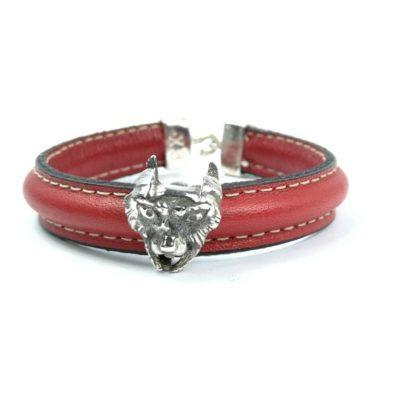 pulsera-piel roja- lince-plata