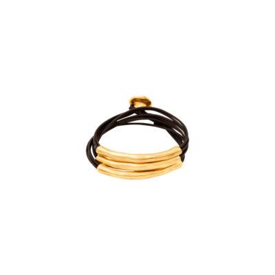 pulseras uno de 50- oro y cuero pulseras