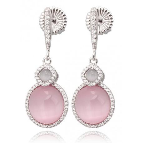 Pendientes de plata largos con piedras ojo de gato rosa y gris rodeadas de circonitas, cierre de presión, acabado oro blanco