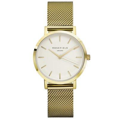 Reloj Rosefield malla milanesa acero inoxidable color oro , esfera blanca