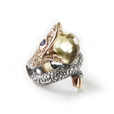 Anillo Serpiente plata y oro