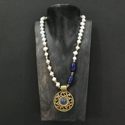 Collar perla y lapislázuli